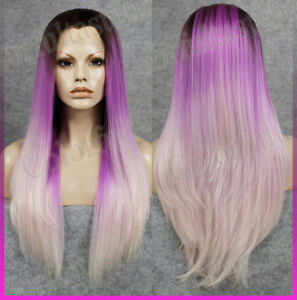 Long Ombre Straight Purple Women Lace Front hair wig Dark Root ... 9508b85eb7