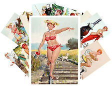 Postcards Pack [24 cards] Hilda Chubby Redhead Sexy Pinup Girl Vintage CD3016