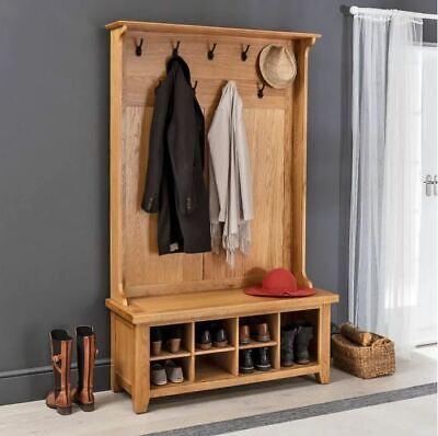 Cheshire Oak Hallway Tidy Shoe Storage, Oak Hallway Bench And Coat Rack