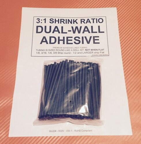 "Dual-Wall Adhesive Lined 3:1 Heat Shrink Tubing 4/"" 25pcs 1//2/"" 12mm I.D Black"