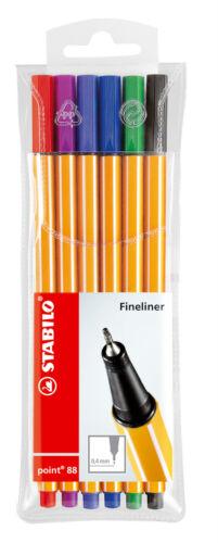 Finliner Etui 6 Farben sortiert Stabilo Point 88