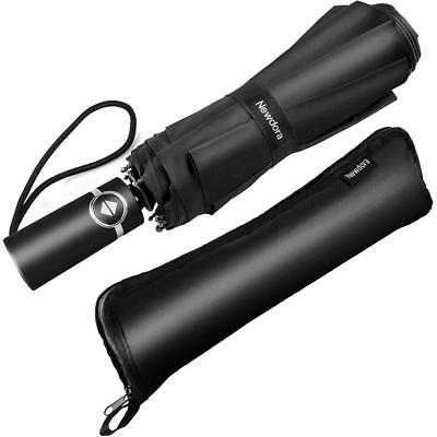 Parapluie Pliant Automatique Solide Pliable Resistant Au Vent Compacte Incassable Anti Vent pour Homme Femme Noir