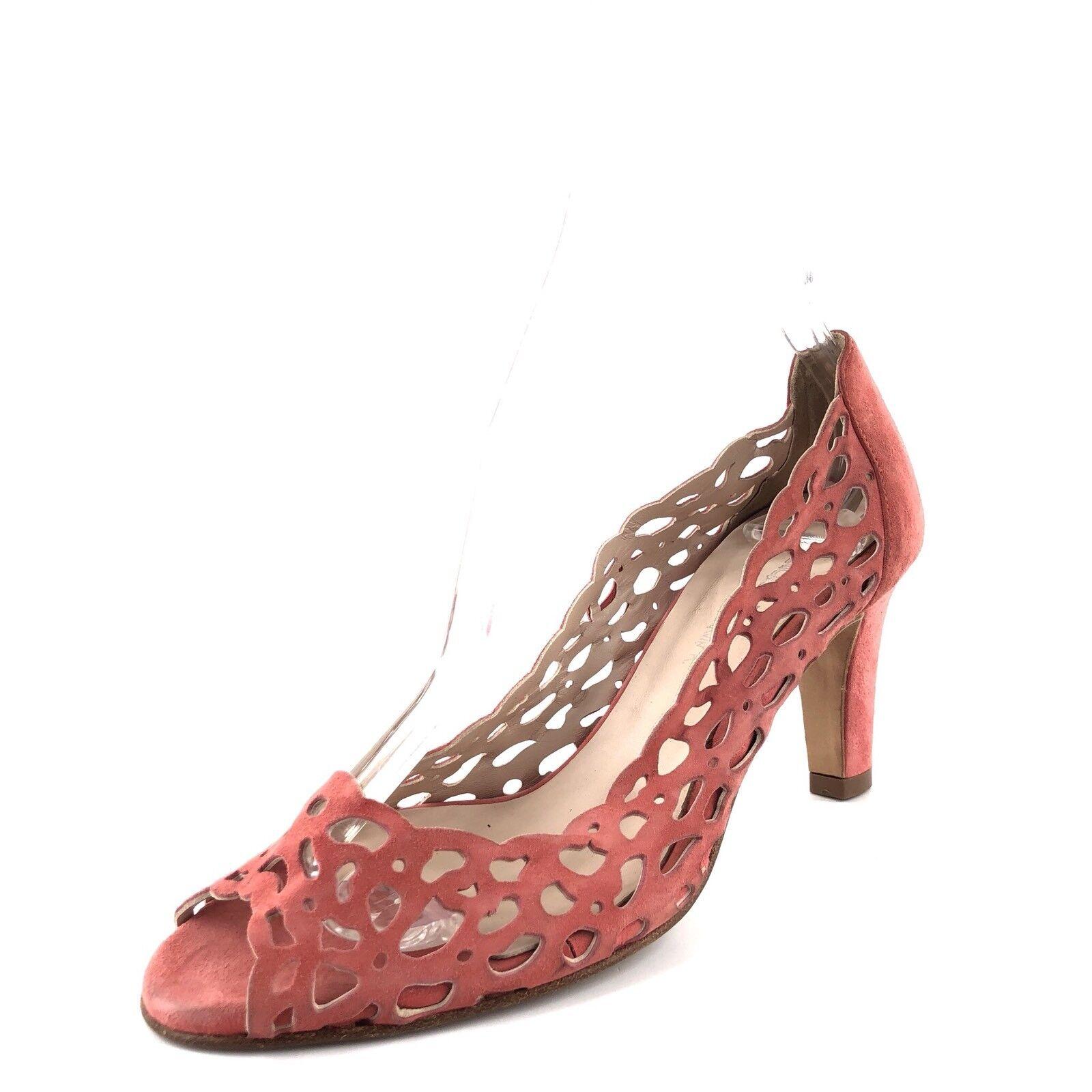 Aquatalia Marvin K K K Coral Suede Open Toe Pumps Sandals Women's Size 7 M  350 8cc428