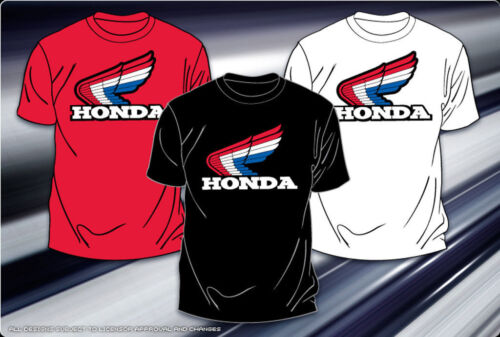 "Honda T-Shirt Honda Racing Motor Sports Black or White Logo Mens Adult /""BLOWOUT/"""
