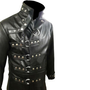 Mens-Real-Black-Leather-Trench-Steampunk-Gothic-Coat-Long-Cosplay-Jacket-GOTH