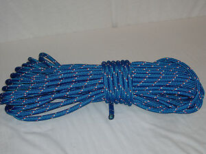 Double Braid Polyester safety winch rigging line 7/16x100 feet blue
