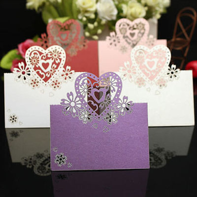 50/100 Lot Love Heart Cut Wedding Party Table Name Place Cards Favor Decor