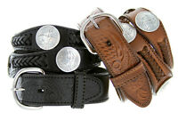 Stone Mountain Coin Concho Western Embossed Genuine Leather Belt, Black Brown