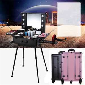 Image Is Loading Professional Rolling Studio Makeup  Artist Cosmetic Case Lighted