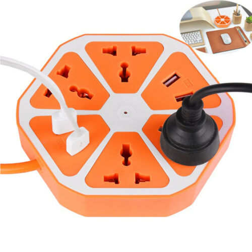 Multi switch Extension Socket 4USB Hexagone prise électrique 1.7 m 2500 W US//EU//UK