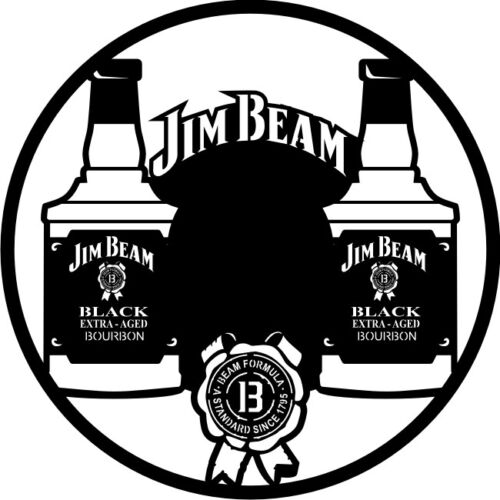 DXF CDR and EPS File For CNC Plasma or Laser Cut Jim Beam Clock Lot
