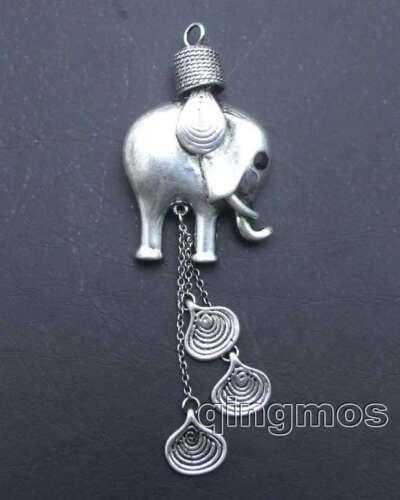 Big 30*50mm elephant DESIGN CHINA MIAO NATIONALITY TIBETAN SILVER Pendant-pen200