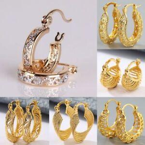 Fashion-18K-Yellow-Gold-Filled-Crystal-Stud-Hoop-Dangle-Earrings-Wedding-Jewelry