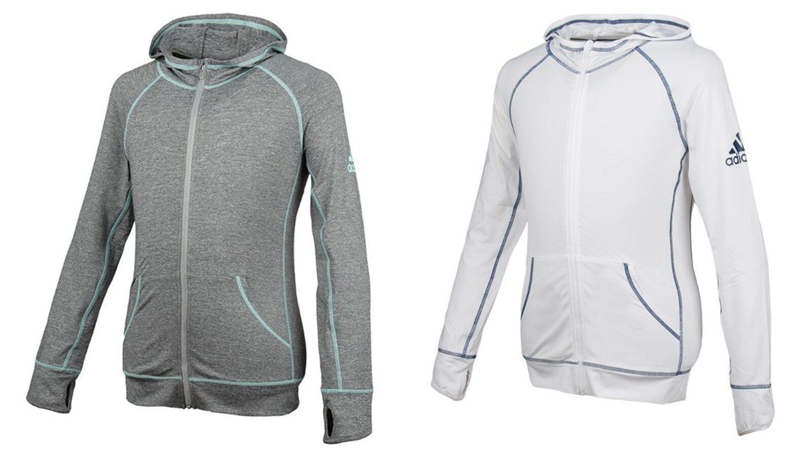 Adidas damen Rashguard Hoodie L S Jackets Weiß Training Swim Yoga Jersey BK5631
