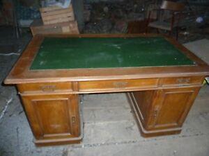 Antica SCRIVANIA scrittoio tavolo in noce con ripiano pelle AUTENTICA