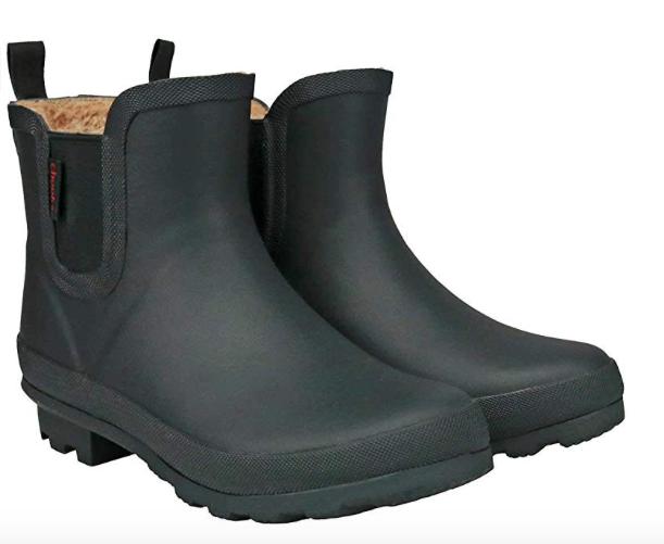 CCZZ Womens Black Rain BOOTS Anti Slip