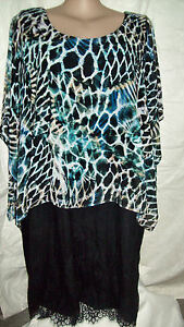 Autograph-Black-Blue-print-shoulder-overlay-occasion-DRESS-16-NEW-kimono-sleeve
