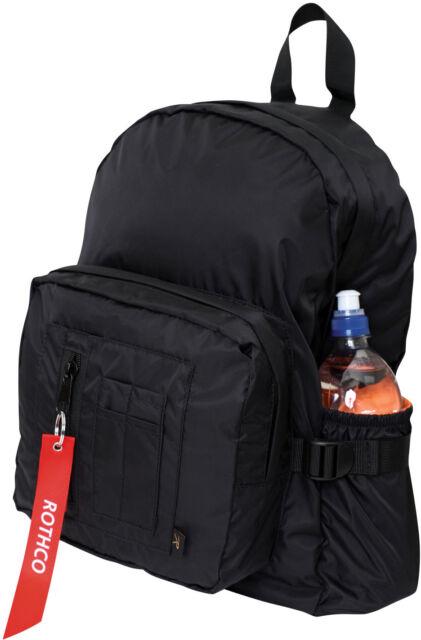 Black MA-1 Bomber Jacket Inspired Mini Backpack with Bright Orange Lining