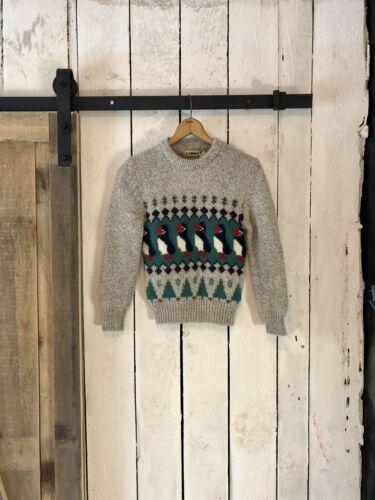Vintage 80s Gray Puffin X Mas Tree Fairisle Wool … - image 1