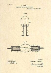 Image Is Loading Official Tesla Light Bulb US Patent Art Print