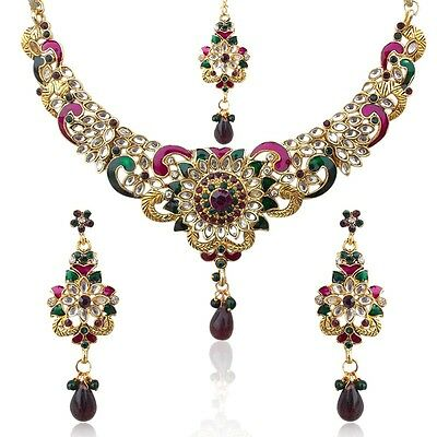 Ethnic India Jewelry Bollywood Purple Green Flower Necklace Set mh39 FASHION EDH