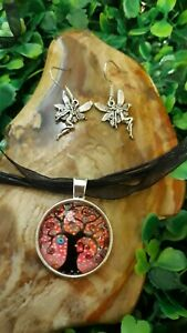Colourful-Tree-Of-Life-Silver-Cabochon-Pendant-Necklace-amp-Fairy-Earrings