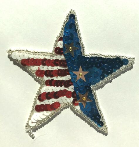 2 Vintage Patriotic American Flag Star Beaded Sequined Applique Sew On Craft