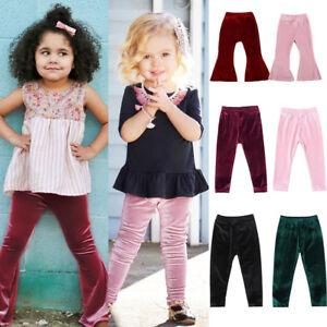 cd02870ccf4bd New Kids Toddler Baby Girls Bottom Velvet Pants Kid Long Flare ...
