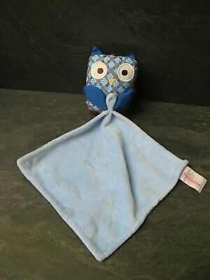 doudou hibou chouette bleu fleur pommette