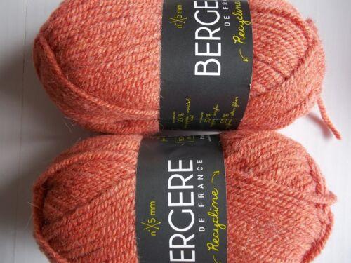 Orangeade lot of 2 Bergere de France Recycline wool blend yarn 93 yds each