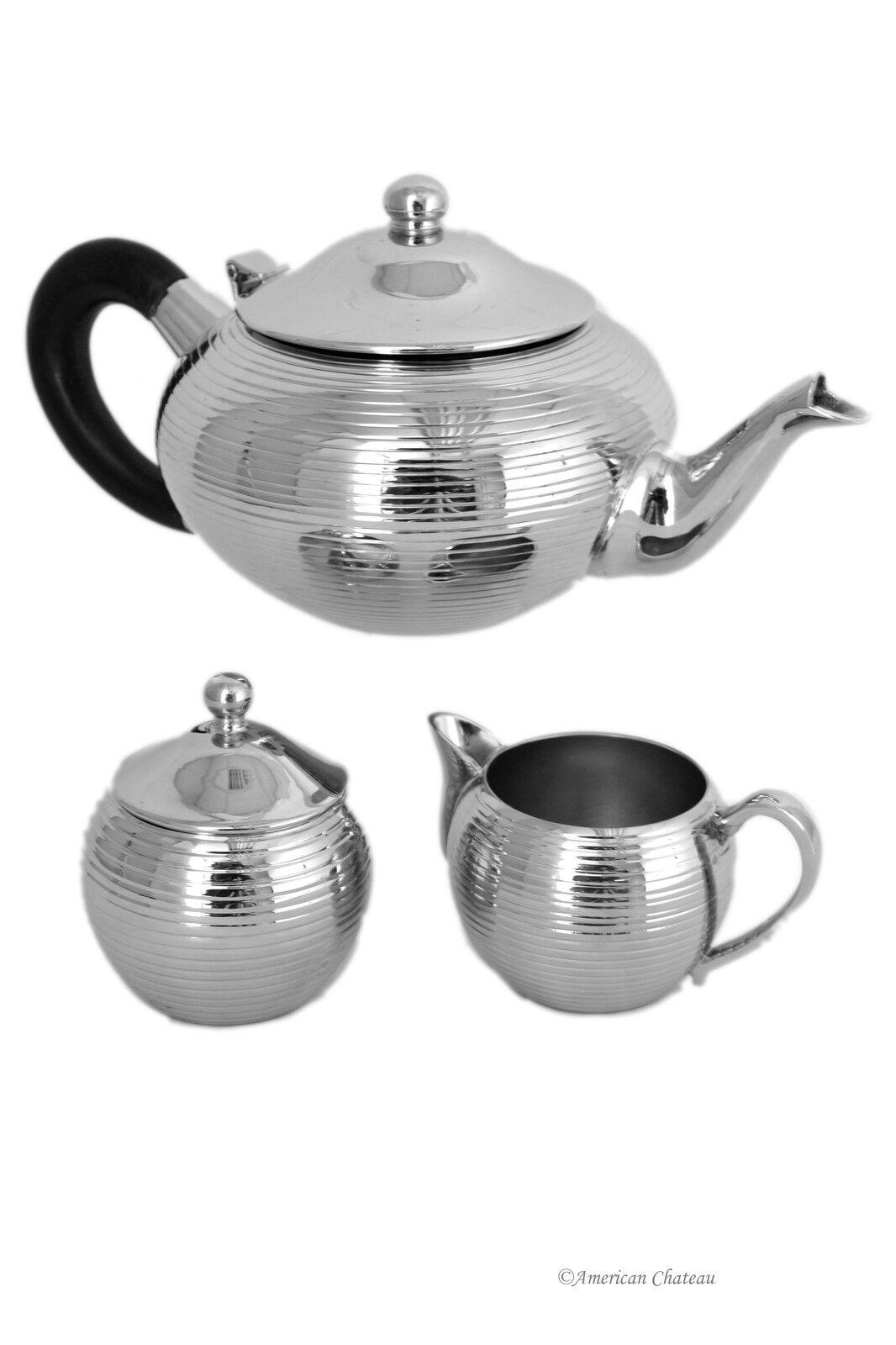Ribbed Ribbed Ribbed Stainless Steel 28 oz Teapot with Creamer & Sugar Jar Tea Coffee Set cf8df8