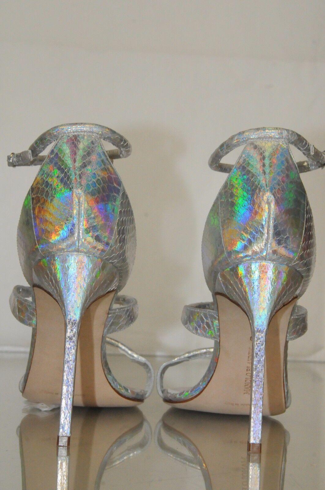 $995 New Blahnik Manolo Blahnik New Bombita SNAKE Silver Strappy Sandals BB schuhes 40 WEDDING a409da