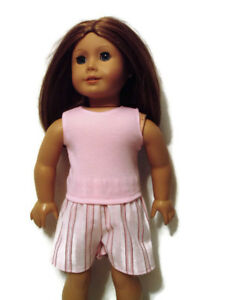 Pink-striped-Shorts-Pink-Top-Outfit-fits-American-Girl-dolls-18-034-Doll-Clothes