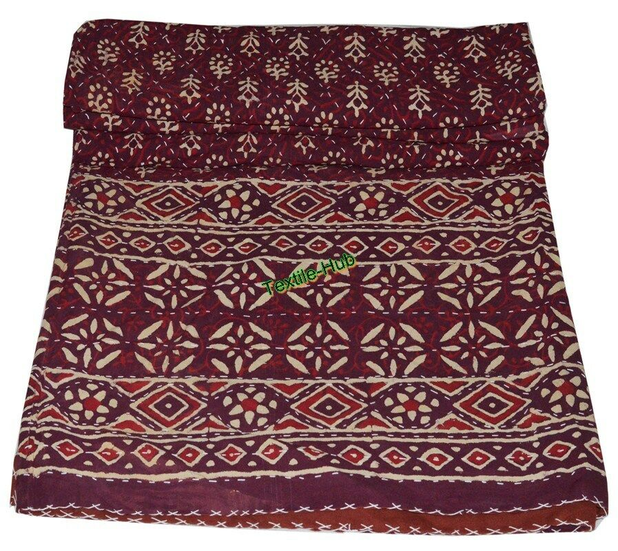 Indian Handmade Patchwork Kantha Quilt Throw Cotton Queen Größe Maroon Boho