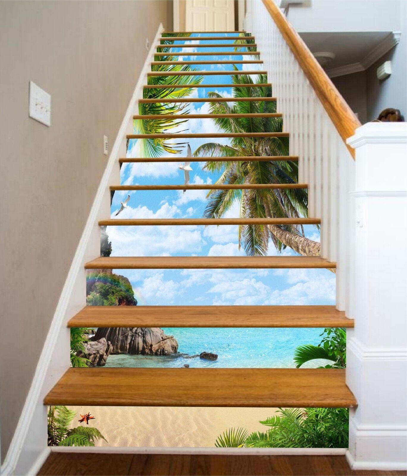 3D Ocean Palm Tree Stair Risers Decoration Photo Mural Vinyl Decal Wallpaper UK