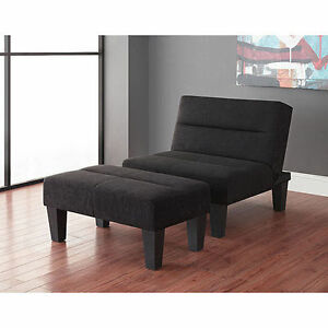 New Lounge Chair And Ottoman Futon Bundle Black Accent