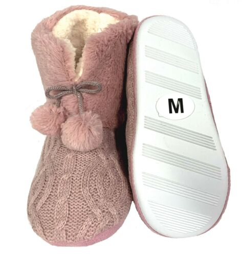 New Womens Slip On Warm Fleece Fur Lined Slipper Ankle Boots Booties Bootee