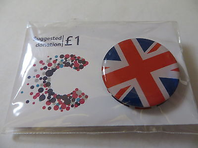 UNION JACK HEART Old Logo Cancer Research UK Charity Pin Badge