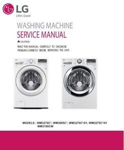 lg wm3180cw wm3085c wm3085cw wm3275c wm3275cw washer service manual rh ebay com LG Tromm Washer Motor LG Washer Owner's Manual