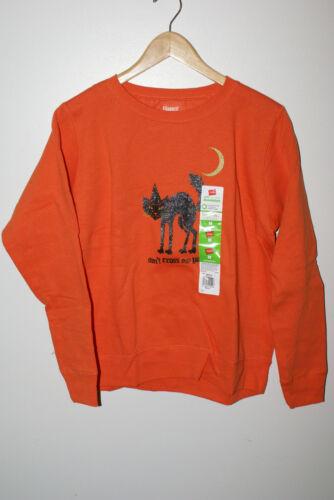 "Womens Halloween Hanes Soft Sweatshirt Medium Orange  Cat /""Don/'t cross my path/"""