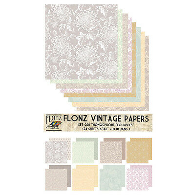 "Paper 24sh 6""x6"" # Monochrome Flourishes Vintage # FLONZ 060 Craft Scrapbooking"