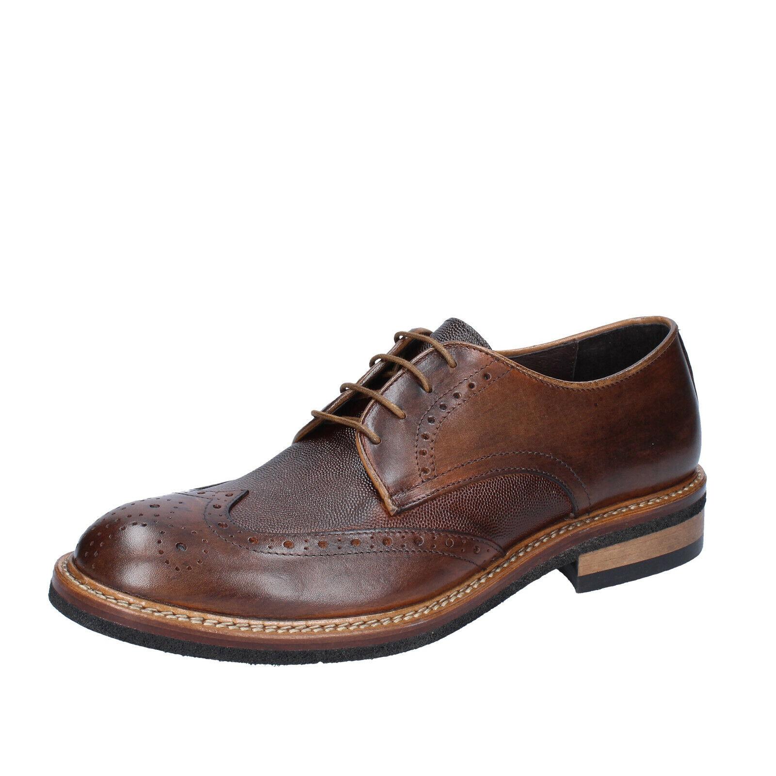Mens shoes +2 PIU' DUE 9 () elegant brown leather BS750-43