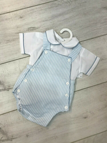 Romany //Traditional Baby Boy Blue /& White Bib Romper Two Piece Set Pex Spanish