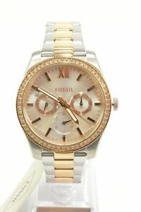 Fossil-ES4373-Scarlette-Silver-Dial-Two-Tone-Glitz-Chronograph-Ladies-Watch