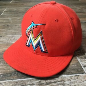 wholesale dealer 618ed 98c0d Image is loading Miami-Marlins-Orange-59FIFTY-New-Era-Fitted-Cap-