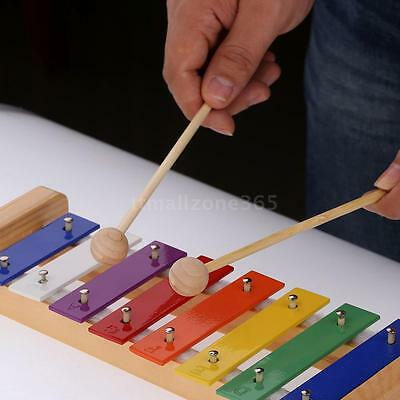 Wood Pine Xylophone 8-Note 3mm Aluminum Plate C Key Percussion Kid Musical Toy