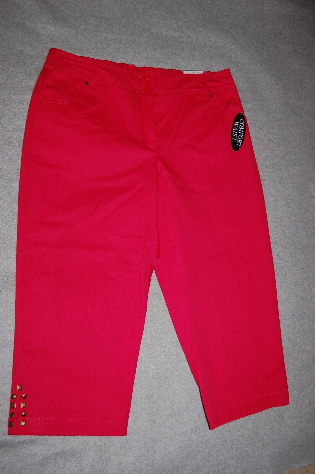 Womens Capris AZELEA RED orange Cropped Pants ELASTIC WAIST Zipper SIZE 22W