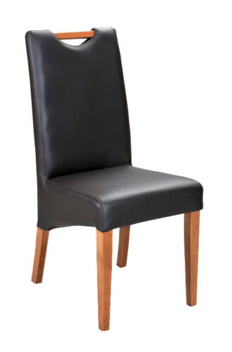 Design Chair Cushion Set 4x Chair Wood 100% Leather Chairs gastronomic Dining New