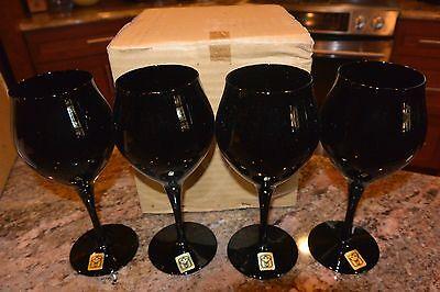Black Towne Hand Made Mouth Blown GOBLET Wine Stem Glasses 4 Pc Set  Japan 6 Oz