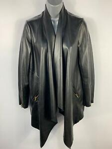 WOMENS-RAVI-FAMOUS-BLACK-CASUAL-FAUX-LEATHER-WATERFALL-DRAPE-COAT-JACKET-SIZE-10